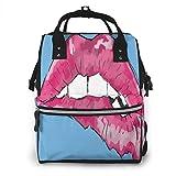 GXGZ Bolso de pañales para bebés Mochila de pañales Bolso de maternidad de maternidad de gran capacidad Impermeable con estilo con labios personalizados de color rosa Impresiones para mamá Papi Viajes