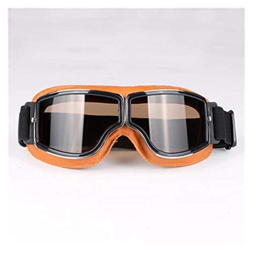 Gafas De Moto,Gafas De Motocross Gafas vintage Gafas de cuero de la motocicleta Gafas de gafas Cruiser Gafas plegables de 3 colores Lente de 4 colores (Color : 10)