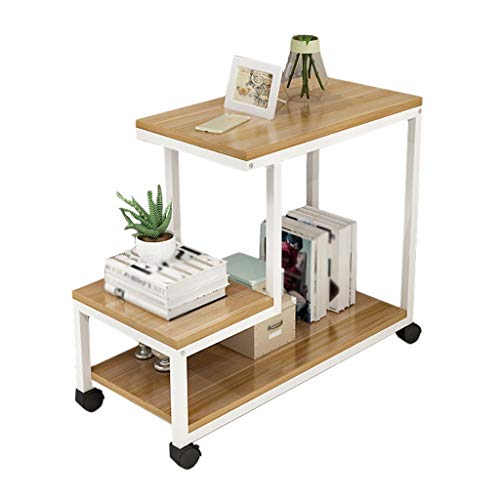YULAN eenvoudige moderne drielagige stalen houten tafel salontafel afneembare woonkamer bank zijrek