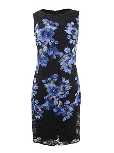 DKNY Womens Sleeveless Embroidered Cocktail Dress Black 4