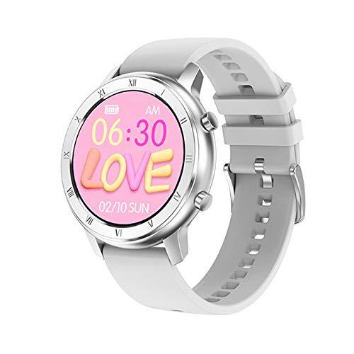 LXF JIAJU Smart Watch Full Touch Redondo Pantalla Redonda IP68 a Prueba De Agua SmartWatch Women para Android iOS Teléfono Hombres Reloj (Color : Silicon White)