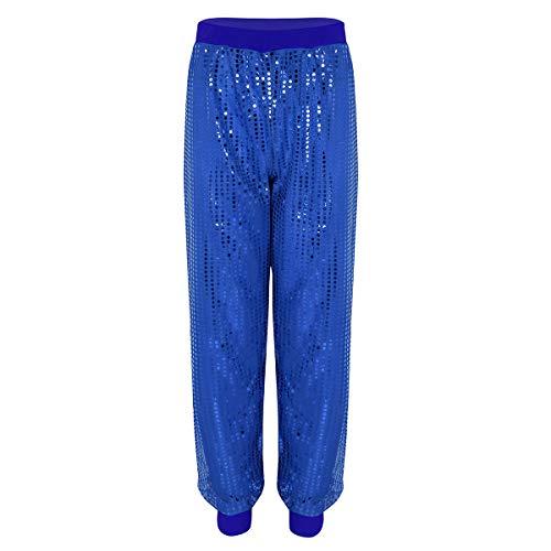 Agoky Damen Baggy Hip Hop Rock Hose High Waist Pants Tanz Cargo Jogger Sporthose Party Kostüm mit Glitzer Shimmer Blau XXL-3XL