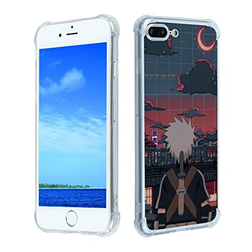 Naruto-Anime iPhone 7 Plus/8 Plus Case,Japan Anime Cartoon Naruto Akatsuki iPhone Case for Boys Men Girls,Uzumaki Hatake Kakashi Itachi Cute Cool Anime Soft TPU Clear Case for iPhone 7 Plus/8 Plus