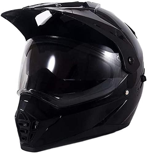 XIAOTIAN Juego de cascos de motocross, con máscara de guante, doble visera, casco de moto Enduro para MTB MX Quad Downhill Quad Dirt Bike (XL) (Color: negro brillante, tamaño: XL)
