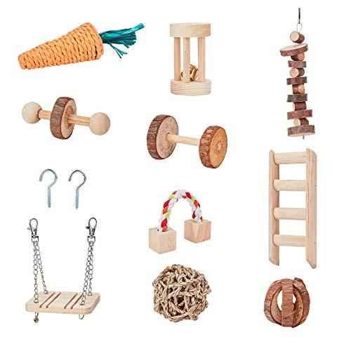 AHANDMAKERハムスター噛むおもちゃ、 アクセサリーダンベル付き10パック天然木製チンチラおもちゃ、 バニーウサギスナネズミのための運動ベルローラーと歯のケア大臼歯のおもちゃ