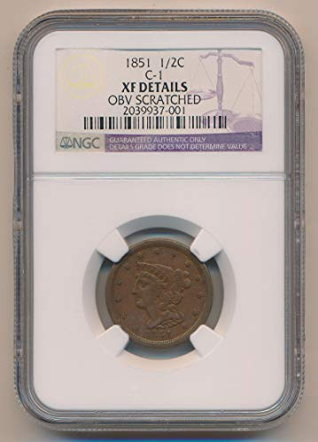 1851 P Braided Hair Half Cent XF Details NGC