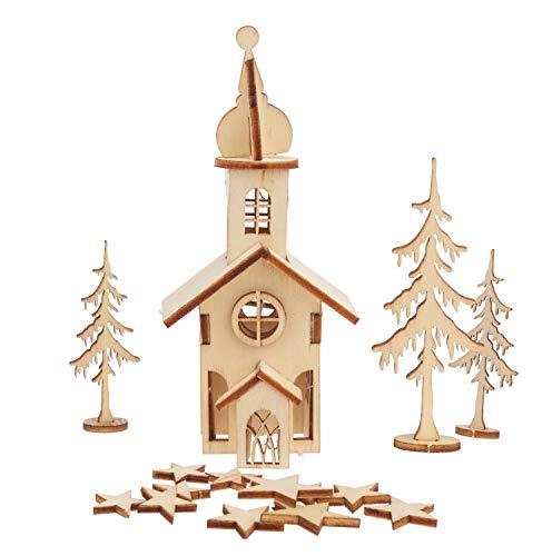 Rayher 46129000 Holzbausatz Weihnachtskirche, 37 Teile, SB-Btl 1Stück