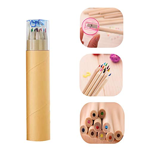 Colored wooden pencils, 12 colors in tube; soft core pre-ground natural log pencils(Unpainted)…