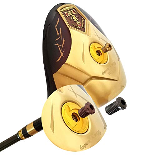wazaki Japan 14K Gold Finish Cyclone III High COR Close Face Draw Titanium Driver Golf Club+Headcover (10.5 Degree Loft,Regular Flex,50g Light Graphite Shaft,Right Handed,500cc onbevestigbare grootte)