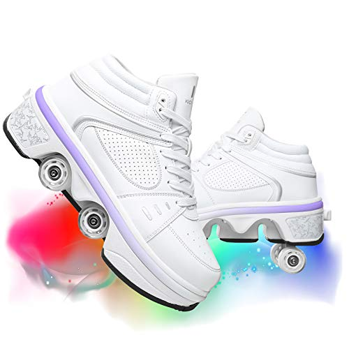 JZIYH Zapatos con Ruedas Zapatillas con Ruedas para Niños Y Niña Led Luces Zapatos 7 Colores Luminosas Flash Zapatos De Roller Doble Rueda Zapatos De Skateboard con USB Carga