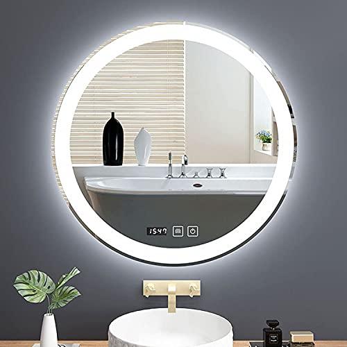 LZQHGJ YAWEN Redondo DIRIGIÓ Espejo de baño Iluminado Vanity Mirror Anti-Niebla Círculo Retroiluminado Espejo de Maquillaje con 3 Colores claros (Color : Led+antifog+Time, Size : 60cm/24in)