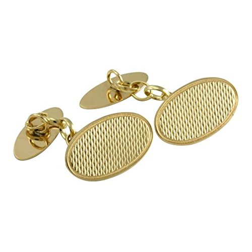 Sayers London Or 9 Carats Boutons De Manchette Ovals Guillochés