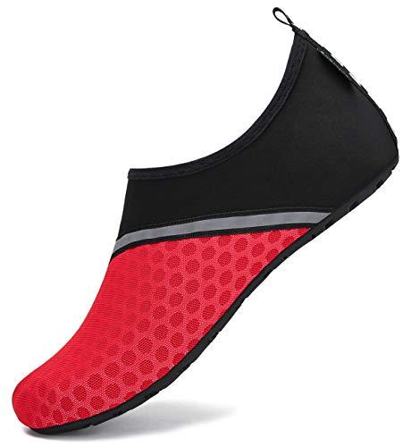 SAGUARO Escarpines Agua Hombre Zapatos de Surf Mujer Antideslizante Secado Rápido Escarpines Snorkel 030 Rojo Gr.38/39