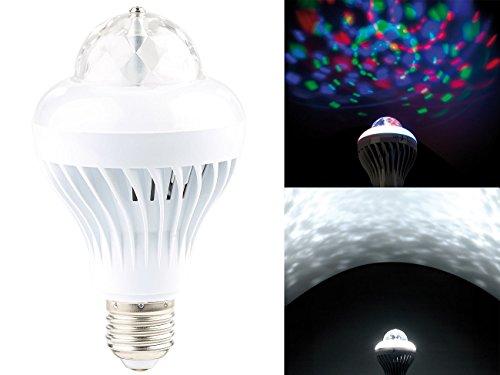 Lunartec Discokugel: Rotierende Disco-LED-Lampe, Galaxie-Effekt, Weißlichtmodus, E27, 5 W (Discobirne)