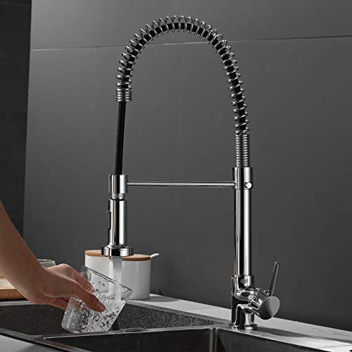 Kitchen Faucet Deck Mounted Mixer Tap 360 Degree Rotation Stream Sprayer Nozzle Kitchen Sink Hot Cold Water Mixer Taps Spring Pull Down Kitchen Sink Faucet