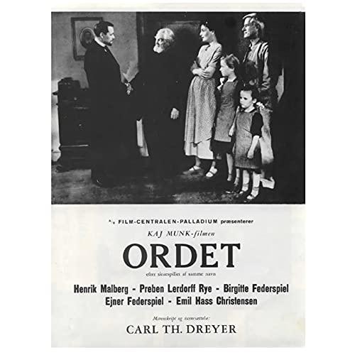 The Word Ordet 1955 Carl Theodor Dreyer Dinamarca Película Película Decorativa Vintage Retro Póster Pared Lienzo Decoración para el hogar-50x70 cm x1 Sin marco