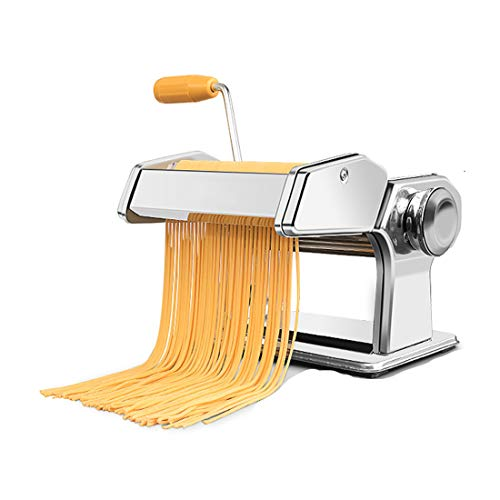 RRH Manual Pasta Maker Machine Heavy Duty Noodles Maker Hand Crank Cutter Pasta with Washable Stainless Steel Rollers and Cutter for Fettuccine, Linguine, Lasagna, Ravioli and Spaghetti(2 Cutting Die)