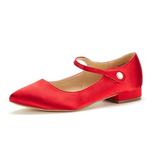 DREAM PAIRS Women's Sole_Silky Red Fashion Low Stacked Ankle Straps Flats Shoes Size 5 M US