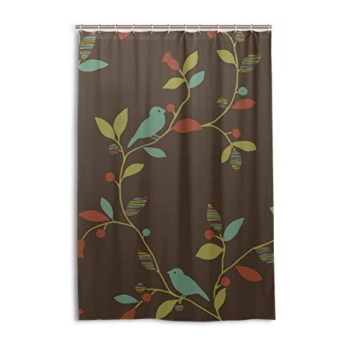 DEZIRO Cortina de ducha de poliéster con diseño de pájaros y rastro, impermeable, 48 x 72 pulgadas