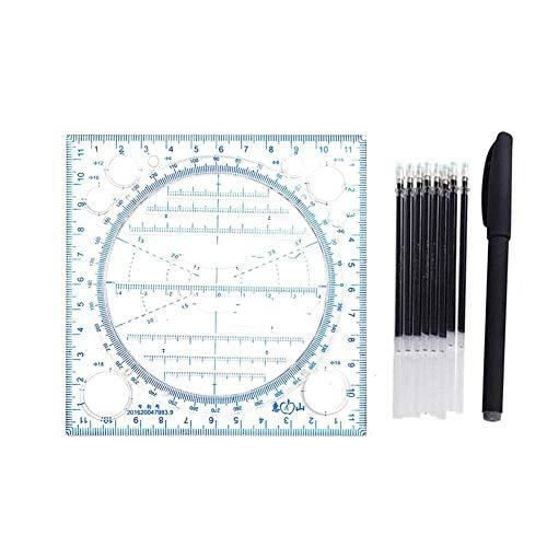 Caleidoscopio geométrica de funciones de medición rápidos Dibujo gobernante multifunción Conjunto (Blue pen set)