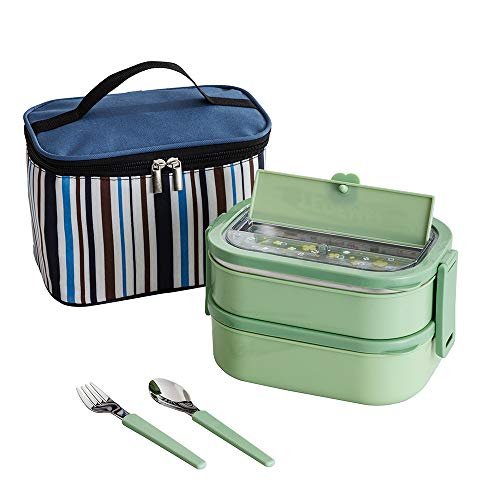 Lille Home Stainless Steel Stackable Compartment LunchSnack box,2-Tier BentoFood Container with Lunch bag Cutlery Set and Built-in Cell Phone Holder BPA Free Leakproof 23L Green
