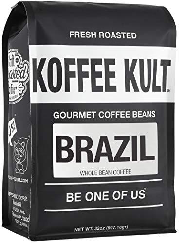 Koffee Kult Brazil Whole Bean Coffee Single Origin Artisan Roasted (32oz Whole Bean)