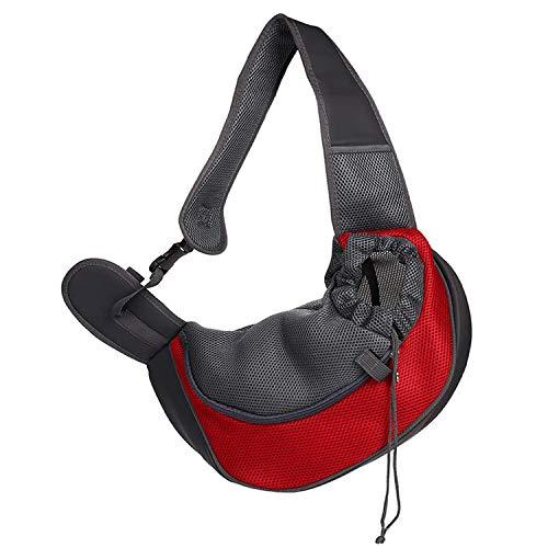 WELLXUNK Katzenumhängetasche, Hund Katzen und Hundetasche, Haustierumhängetasche, Reisehundrucksack, Hundegeschirr atmungsaktiv, sehr gut geeignet für kleine Katzen und Hunde (rot)