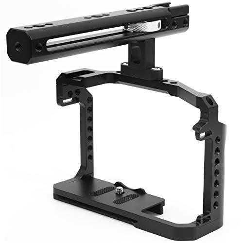 Bindpo Kamerakäfig, Käfig-Rig aus Aluminiumlegierung 1/4 Zoll 3/8 Zoll Gewindebohrungen Kamera-Videokäfig-Kit mit Griff am oberen Griff für Canon EOS R5/R6