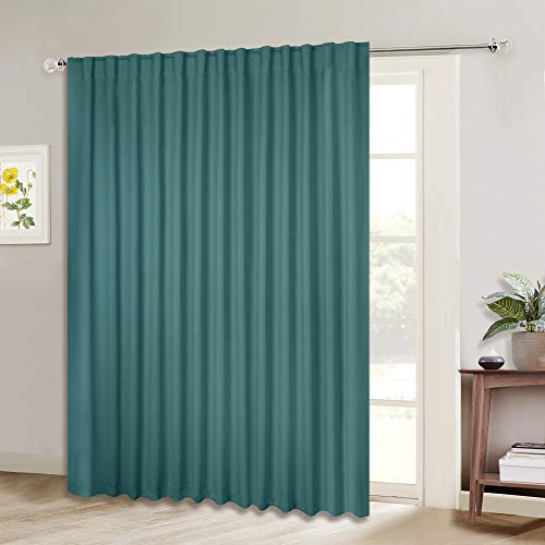 NICETOWN 95 inches Patio Door Curtains - Thermal Drapes Sliding Door Blinds for Hotel and Office, Blackout Shade for Curtain Rods (Sea Teal, W100 inches x L95 inches, 1 Panel)