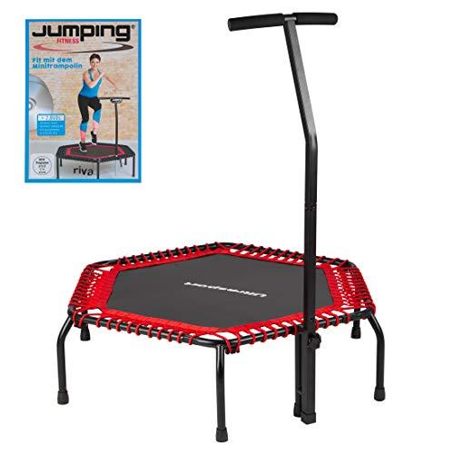 Ultrasport Fitness Trampolin, Ø ca.135cm, 5-fach höhenverstellbarer Haltegriff, sehr leise Gummiseilfederung,Jumping Fitness & Indoor geeignet, komfortable Griffummantelung aus Schaumstoff, 2 Variaten