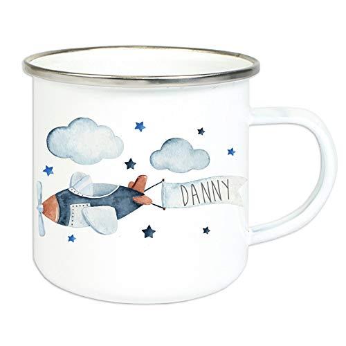 Taza esmaltada para niños con nombre personalizado estampado/taza en diseño vintage con diseño y nombre/taza 8 cm altura 300 ml cantidad de relleno