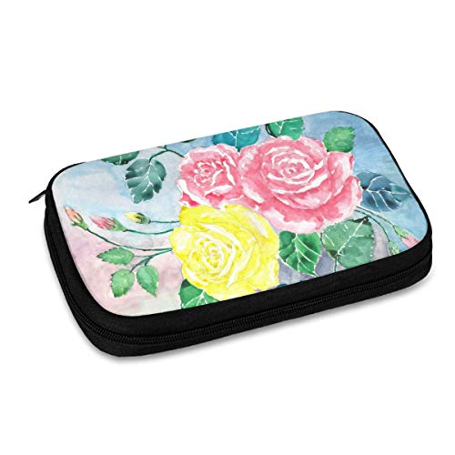 Electronics Organizer Watercolor Yellow Roses Pink Flower Floral Jelly Comb Electronic Accessories Cable Organizer Bag Travel Cable Storage Bag for Cables, Laptop Charger, Tablet (Up to 9.4'')