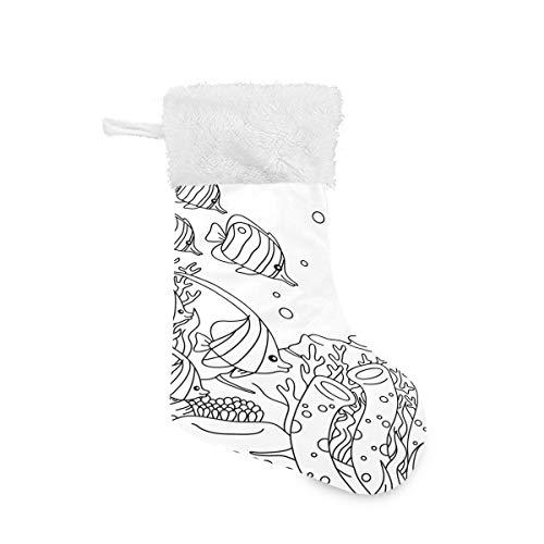 Christmas Socks Fishes Underwater Personalized Santa Stocking Gift Kids Fireplace/Restaurant/Hotel/Club/bar for Xmas Tree Decor