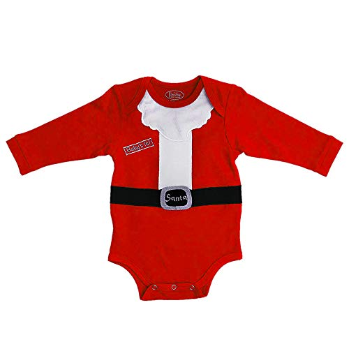 Frenchie Mini Couture Baby Outfits for Girls & Boys - 100% Cotton Santa Onesie, 0-3 Months Red
