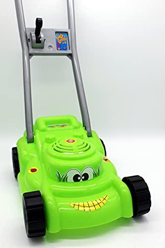 Izzy Rasenmäher mit Knattergeräusch beim Fahren grün Kinderrasenmäher Spielzeugrasenmäher mit Geräuschen Spielzeug für Kinder ab 18 Monaten Garten 40x24x54 cm