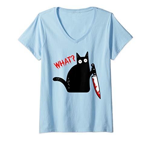 Damen Lustige schwarze Katze mit Messer - schwarze Katze WAS? T-Shirt mit V-Ausschnitt