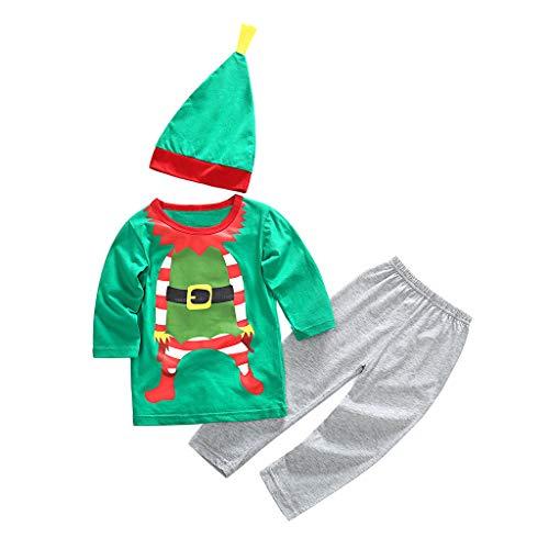 Cuteelf Jungen langärmeligen europäischen und amerikanischen Weihnachts-Performance-Kleidung Cartoon-Muster Shirt + Hosen Zweiteilige Weihnachts-Cartoon-Weihnachts-T-Shirt Hosen Hut