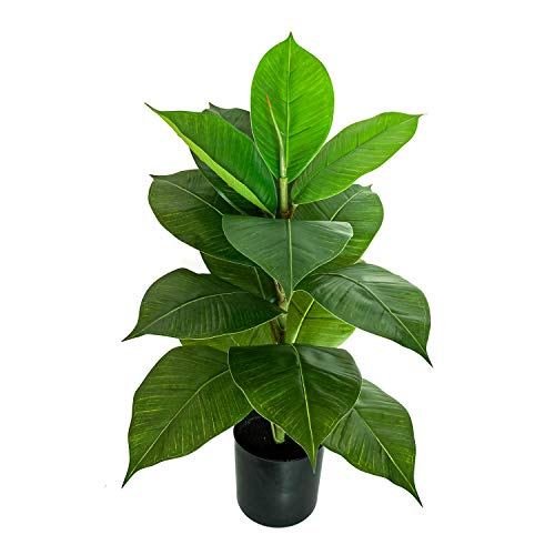 BESAMENATURE 22 Inch Artificial Mini Rubber Tree Plant - Ficus Tree- Faux Tropical Tree Used for Home Office Decoration, Green