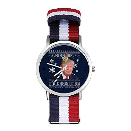 Donald Trump Kiss Me Its Christmas Strickmuster Freizeit Armband Uhren Geflochtene Uhr mit Skala