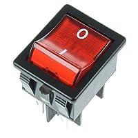 First4Spares - Interruttore on/off universale rettangolare, illuminato, con marchio I/O, 20 Amp, 4 poli, rosso. Premium, componenti elettronici plug & play, 20 Amp, 4 poli. 25 mm di larghezza, 30 mm di lunghezza, 29,4 mm di profondità. Montaggio semp...