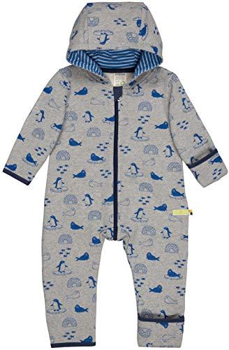 loud + proud Baby-Unisex Overall Druck Aus Bio Baumwolle, GOTS Zertifiziert Strampler, Grau (Grey Gr), 80 (Herstellergröße: 74/80)