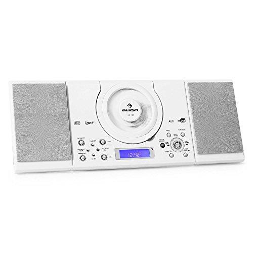 auna MC-120 - Stereoanlage, Kompaktanlage, Microanlage, MP3-fähiger CD-Player, UKW-Radiotuner, 30 Senderspeicher, USB-Port, AUX-IN, Weckfunktion, Dual-Alarm, Stand- und Wandmontage, weiß