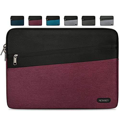 NEWHEY Funda Portatil 15.6 Pulgadas Impermeable Moda Funda Ordenador Blandas Laptop Protectora Prueba Golpes Compatible con Macbook Air / Pro 15-15.6 Pulgadas, HP, DELL, Lenovo Vino Rojo