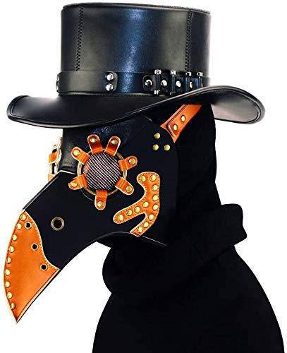 ASEDRF PU-Leder-Pest-Doktor Maske, Steampunk Pest-Doktor-Vogel-Kopfmaske, Cosplay Halloween Weihnachten Kostüm Requisiten, Kostüm Requisiten Maske Mit Langer Nase