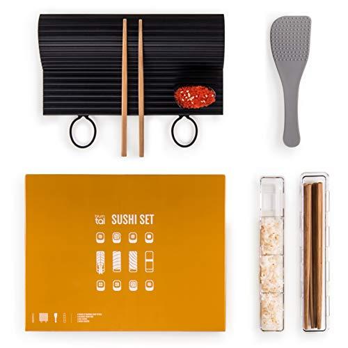 Blumtal Sushi Set - Spülmaschinenfeste Silikonmatte, Sushi Maker, Stäbchen und Reislöffel