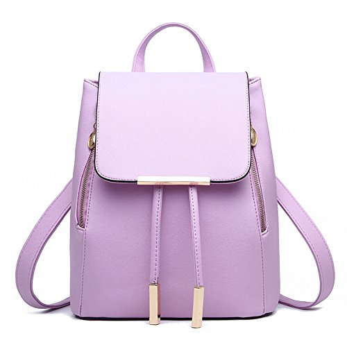 KARRESLY Women's Mini Backpack Purse PU Leather Rucksack Purse Ladies Casual Shoulder Bag for Women(Purple)