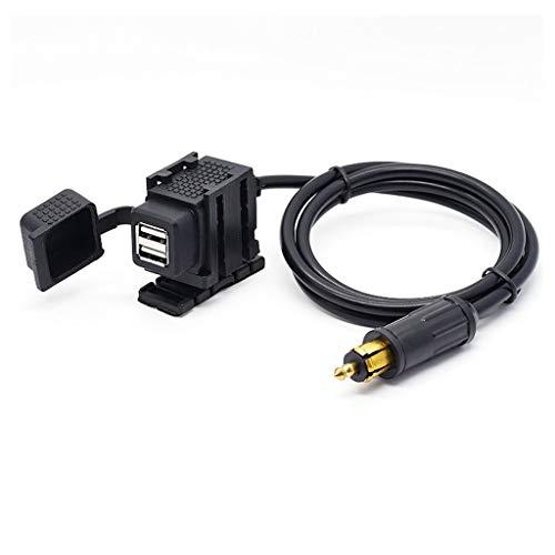 Meipai 12V-24V - Enchufe Impermeable para Motocicleta a 2.1A, Cargador USB Dual, Adaptador de Corriente con Cable de 1.8m, Compatible con GPS para teléfono móvil de Motocicleta B-MW Triu-mph
