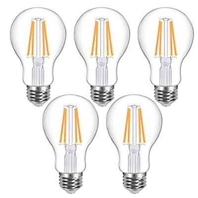 Lepro Vintage LED Bulbs, Dimmable Filament Bulb, 7.5W 800LM, 60W Equivalent, 2700K Warm White, Classic Clear Glass, A19 Shape, E26 Base, Pack of 5