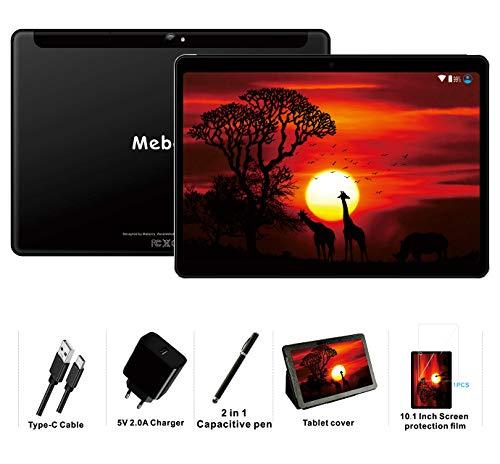 tablet wifi MEBERRY Tablet 10 Pollici Android 9.0 Pie Tablets 4GB RAM + 64GB ROM - Certificato Google GSM - 4G Dual SIM | 8000mAh | WI-FI| Bluetooth | GPS |Type-C (5.0+8.0 MP Telecamera) - Nero