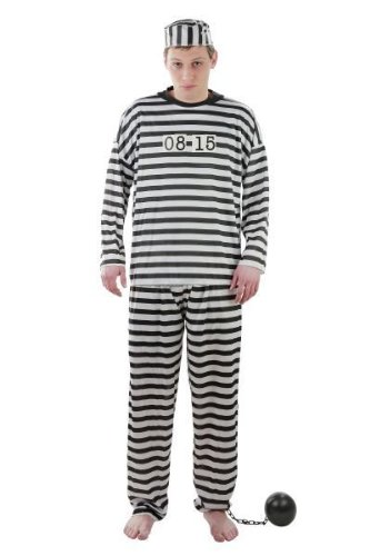 Foxxeo Kostüm Gefangener Sträflingskostüm Sträfling Knasti Gefängnis Knast Verbrecher Verbrecherkostüm Größe XXXL